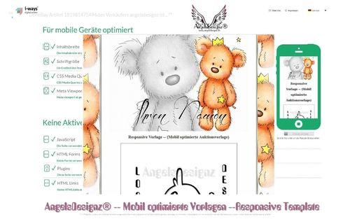 Responsive Mobil optimierte Vorlage Teddy Template 2017
