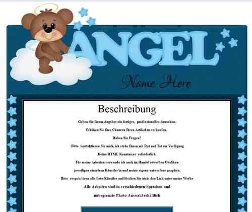 Vorlage Angels Teddybär Design
