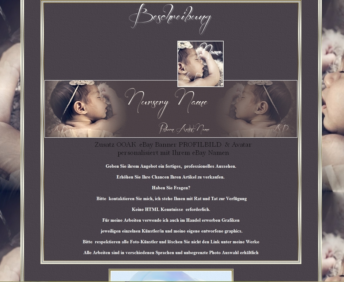 OOAK auction Template u. personalised Banner eBay Profile picture ...