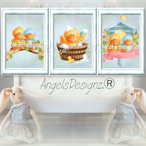 Nursery 3 images Set of baby duck art print
