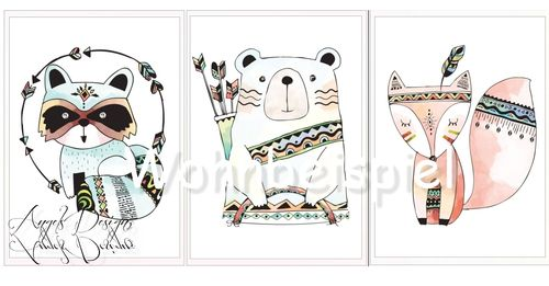 Nursery Wall Art Print Woodland Animals tribal art 3 Pictures Set
