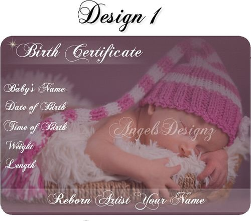 Reborn doll artist artist birth certificates