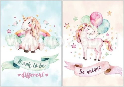 A4 Poster Nursery Baby Room Baby Poster Unicorn Animals Pictures Set