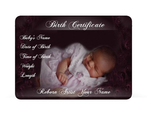 birth certificates Reborn doll artist