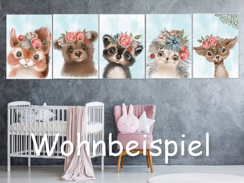 5 Motifs A4 Poster Nursery Pictures Forest Animals Animals Nursery Pictures