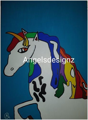 Acrylic Pop Art Unicorn on canvas unique OOAK